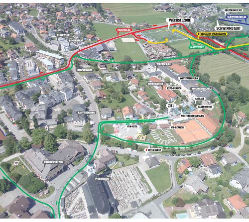 Zielareal des Trumer Triathlons im Ortszentrum Obertrum